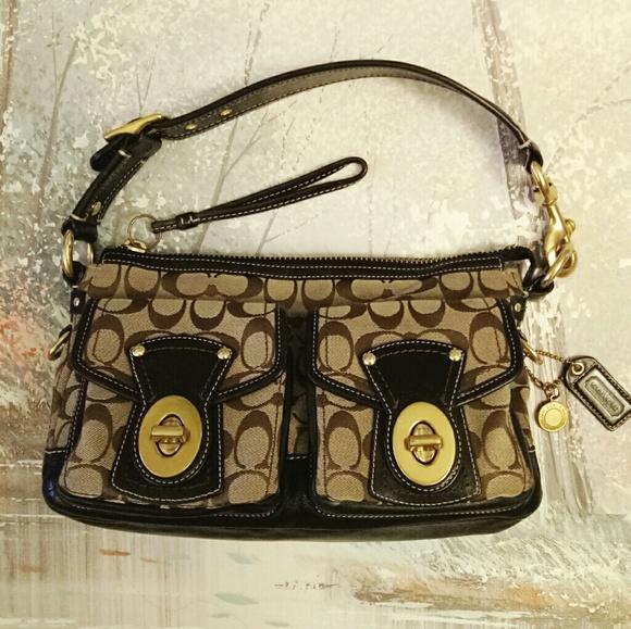 Coach Handbags - Auth coach monogram canvas/leather shoulder bag